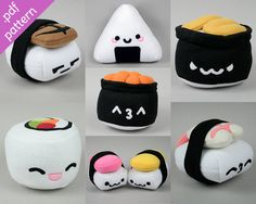 All the Sushies  Collection of 7 Sushi Plushies by ShoriAmeshiko, $10.00