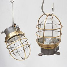 Industrial Iron & Brass Light, Industrial & Ships Lighting - Ceiling and Pendant Lights