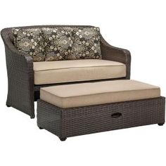 Hampton Bay Spring Haven Brown All-Weather Wicker Patio Loveseat with Sky Blue Cushions-66-20303 - The Home Depot