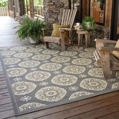StyleHaven Floral Grey/Gold Indoor-Outdoor Area Rug | Overstock.com Shopping - The Best Deals on 7x9 - 10x14 Rugs