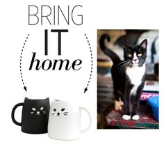 """Bring It Home: Miya Black & White Cat Mug Set"" by polyvore-editorial ❤ liked on Polyvore featuring interior, interiors, interior design, home, home decor, interior decorating and bringithome"