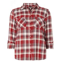 Dorothy Perkins Autumn Red Check Shirt ($35) ❤ liked on Polyvore featuring tops, red, check pattern shirt, button front top, red shirt, red cotton shirt and shirt top