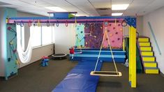We Accommodate Medium size spaces such as Clinic/Facility and Schools. Our mid-size installations for Clinics and Therapy Centers create spaces that inspire imagination while enhancing health and wellness. Kids Play Area, Kids Room, Indoor Jungle Gym, Indoor Playroom, Indoor Play Areas, Cool Kids Bedrooms, Sensory Rooms, Home Daycare, Gym Decor
