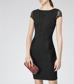 Womens Black Lace Panel Dress - Reiss Khloe