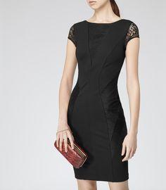 Womens Black Lace Panel Dress - Reiss Khloe