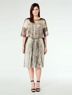 Marina Rinaldi DARE black: Satin waist dress.