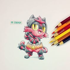 "15.3 mil curtidas, 40 comentários - Birdy C. //            90s kid (@itsbirdy) no Instagram: ""Small kid with a burning passion to evolve. Or simply #Litten sporting an #Inceneroar inspired…"""