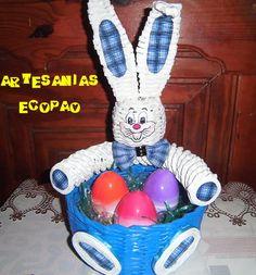 Cesta con conejito de Pascua - Artesanias Ecopao