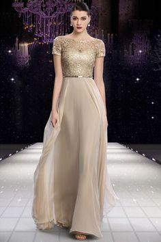 Fantastic Sheath Bateau Neck Long Champagne Chiffon Lace Evening Dress With Sleeves