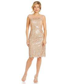 JS Collections Metallic Floral-Lace Cocktail Dress   Dillards