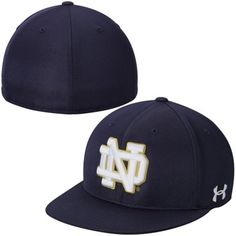 Mens Under Armour Navy Blue Notre Dame Fighting Irish On Field Baseball Fitted Hat