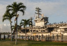 PEARL HARBOR (Dec. 03 2013) The aircraft carrier USS Nimitz (CVN 68) arrives at Joint Base Pearl Harbor-Hickam for a scheduled port visit during an eight-month deployment to the U.S. 5th, 6th and 7th Fleet areas of Responsibility. Nimitz is scheduled to continue east toward San Diego, before returning home to Everett, Wash., before the end of the year. (U.S. Navy photo by Mass Communication Specialist Seaman Apprentice Rose Forest/Released)