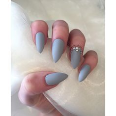 Matte Grey Stiletto false nails with rhinestones and gems (82 HRK) ❤ liked on Polyvore featuring beauty products, nail care and nail treatments
