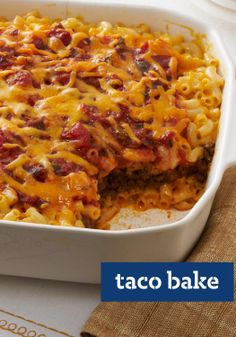 Taco Bake – We had a hunch about these two. And sure enough, fireworks. Ooey-gooey mac and cheese pairs up with the Tex-Mex flavors of tacos for a match made in heaven.