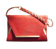 Red hot envelope handbag for all  your faux leather looks, by Olivia + Joy