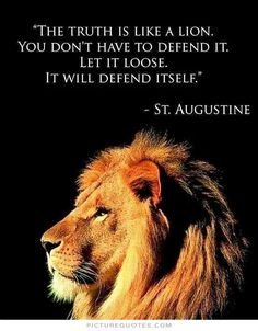 "This is a good resting place. It's the absolute truth too. ""The truth is like a LION ... You don't have to defend it. Let it loose. It will defend itself."" St. Augustine"