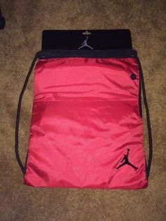 NWT Jumpman 23 Gym Bag Backpack Sac Drawstring Varsity Red 9A1159-344 #Jordan