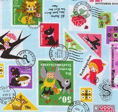 Kokka Japan Kawaii Fairytales stamps Cotton Half by atelier608, $10.68
