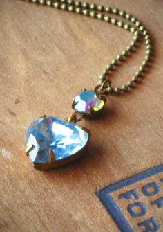 Blue Heart Necklace Crystal Rhinestone Valentine. I Like how neutral this necklace is.