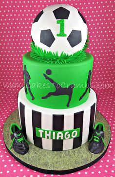 First Birthday Soccer Cake - Tartas fondant - Soccer Birthday Cakes, Football Birthday, Soccer Party, Soccer Cakes, Soccer Theme, Football Cakes For Boys, Bean Cakes, Rhubarb Cake, Savoury Cake
