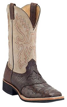 Cavender's Kango Rustic Full Quill Ostrich w/ Ivory Top Double Welt Square Toe Exotic Crepe Sole Western Boots | Cavender's