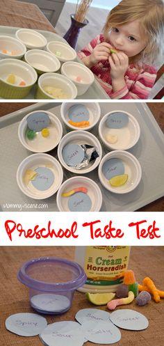 Preschool 5 Senses Taste Test for kids, toddlers, and preschoolers