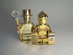 Mr. Gold and his Gold Digger by Paul Janowski | Custom Gold Chrome LEGO Minifigs