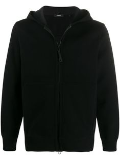 Black double hoodie from Theory featuring a front zip fastening, long sleeves, elasticated cuffs and a relaxed fit. Black Hoodie, Size Clothing, Women Wear, Theory, Mens Fashion, Hoodies, Sleeves, Fashion Design, Clothes