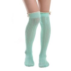 Song Women's Leg Warmers Lace Trim Boot Socks Button Knit Knee High Crochet. 100% Brand new and high quality. Cotton. With Crochet Lace Yarn,Solid Knitted,Yet Thin And Light. You Can Pair Them With Tights, Leggings, Skirts, Skinny Jeans. Elaborately made high quality socks with soft lace and satin bow, very pretty, suitable for all occasions.