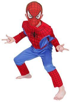 Lasten Naamiaisasu; Spiderman Deluxe  Lisensoitu Spiderman Deluxe asu. Hämähäkkimies (oikealta nimeltään Peter Benjamin Parker, engl. Spider-Man, alunperin nimeltään Martin Pike) on Marvelin sarjakuvissa esiintyvä supersankari. Hän esiintyi ensimmäisen kerran Stan Leen sekä Steve Ditkon piirtämänä Amazing Fantasy -lehden 15. numerossa vuonna 1962. #naamiaismaailma
