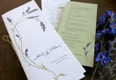 Tall wedding program. Letterpress cover with digitally-printed contents.    Wedding   Modern   Blue Salvia   Echo Letterpress