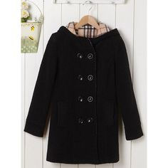 Fashionable Women's Double-Breasted Long Sleeves Hooded Worsted Coat