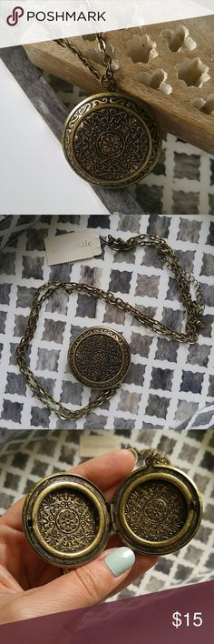 """Boho locket necklace Brand new! Antiques gold color. Chain is 16"""" long. Locket is 1.75"""" diameter. Aeropostale Jewelry Necklaces"""