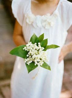 Flower Girl's Posy Of: White Lily Of The Valley + Green Foliage