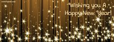 Wishing You A Happy New Year Gold Stars Facebook Cover CoverLayout.com
