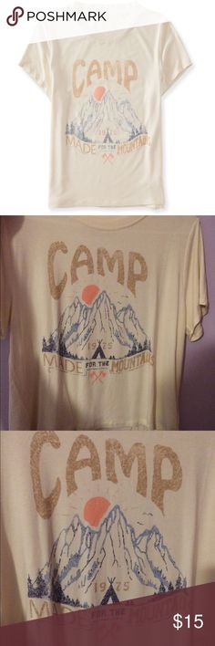Aeropostale cape juby crop top Cape Juby camp graphic tee, semi crop top, short sleeve white t-shirt. Once you receive this item you will notice that there is no ticket attached to it but it is a new and unused product. Aeropostale Tops Tees - Short Sleeve