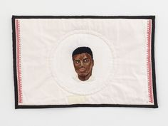 Available for sale from DICKINSON, Elsa Hansen Oldham, Facing Ali Silk hand embroidery on linen, Hand quilted on cotton, 21 × 32 in Modern Embroidery, Hand Embroidery, Textile Artists, Hand Quilting, Needle And Thread, Folk Art, Pop Culture, Elsa, Needlework