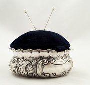 Antique Silver Pin Cushion Trinket Box 1901