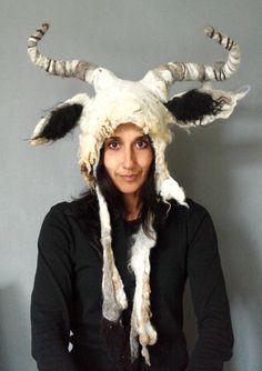 Capricorn Goat horned Animal beast headdress costume hand felted from natural Shetland Wool fleece with posable horns