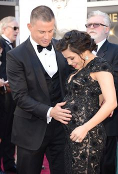 Jenna Dewan-Tatum wears a backless black lace dress with the best accessory ever, Channing Tatum at the 2013 Oscars!