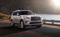 Download wallpapers Infiniti QX80, 2018, new luxury SUV, updated QX80, facelift, Japanese cars, Infiniti