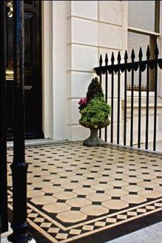 Victorian tiles design around front fire place Interior And Exterior, Front Door, Victorian Terrace, Porch Tile, Outdoor Tiles, Front Garden, Victorian Homes, House Front, Door Steps