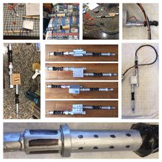 Stages of production of the blaster portion of the proton pack. I made it out of a wooden dowel, wires of different thicknesses, card board, electrical tape, duct tape, foam, and lots of hot glue and silver paint. The wire was hot glued as well.