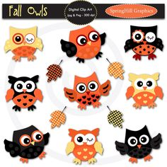 Fall Halloween Owls Digital Clip Art for Card Making, Web Design, Scrapbooking - Personal and Commercial use. $5.00, via Etsy.