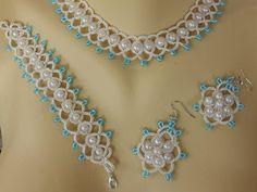 Parure mariage, collier+ boucles d'oreille +bracelet, parure dentelle ivoire : Parure par carmentatting