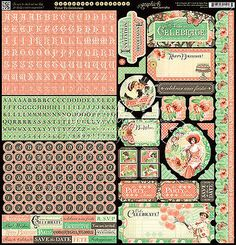Graphic45 TIME TO CELEBRATE 12x12 Sticker Sheet scrapbooking VINTAGE PARTY