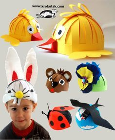 Gorros-Máscaras para niños. No hay tutorial pero las fotos son bastante explícitas.