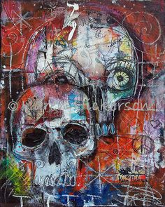 SUGAR SKULL Day of the Dead Primitive Modern Folk Art Wicked Cool Abstract Print of Painting Karen Hickerson