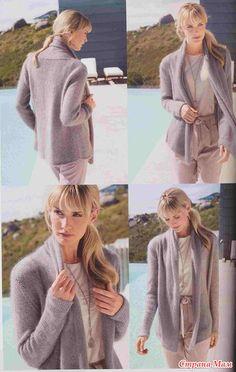 Две модельки с описаниями (жакет и пуловер)
