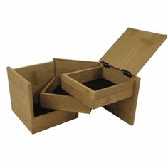 "Tuck Box: This would be great for treasures. 5"" square bamboo box with three felt lined trays which swivel."
